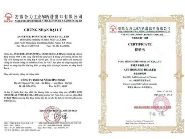 giấy chứng nhận đại lý độc quyền xe nâng heli tại việt nam